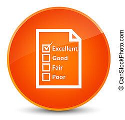 Questionnaire icon elegant orange round button