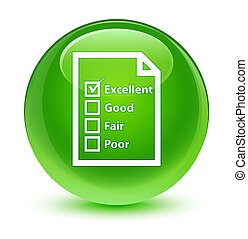 Questionnaire icon glassy green round button
