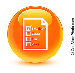 Questionnaire icon glassy orange round button