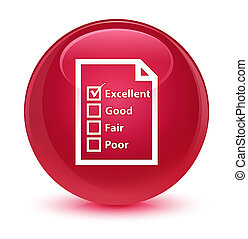 Questionnaire icon glassy pink round button