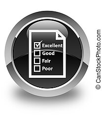 Questionnaire icon glossy black round button