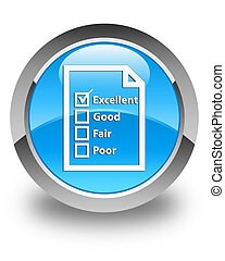 Questionnaire icon glossy cyan blue round button
