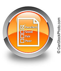 Questionnaire icon glossy orange round button