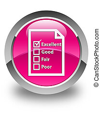 Questionnaire icon glossy pink round button