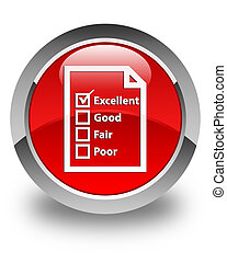 Questionnaire icon glossy red round button