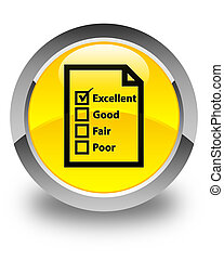 Questionnaire icon glossy yellow round button