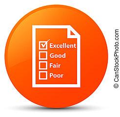 Questionnaire icon orange round button