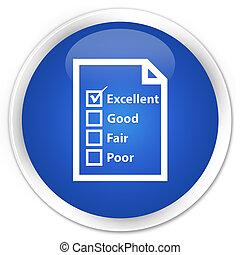 Questionnaire icon premium blue round button