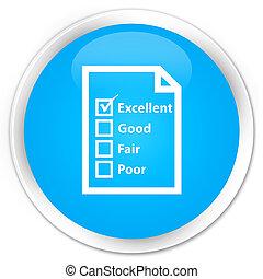 Questionnaire icon premium cyan blue round button