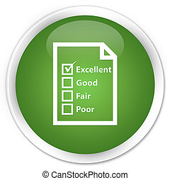Questionnaire icon premium soft green round button