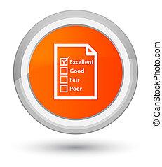 Questionnaire icon prime orange round button