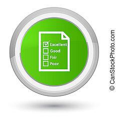 Questionnaire icon prime soft green round button