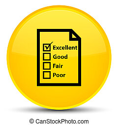 Questionnaire icon special yellow round button