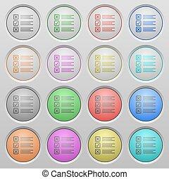 Questionnaire plastic sunk buttons