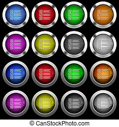 Questionnaire white icons in round glossy buttons on black background