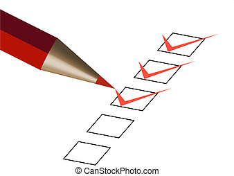 questionnaire with red pen