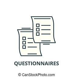 Questionnaires vector line icon, linear concept, outline sign, symbol