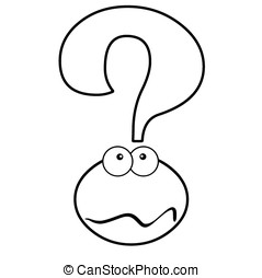 Question?.OL - Cartoon puzzled question mark. Black and...