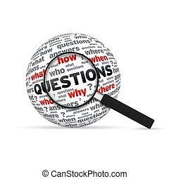 Questions 3d Word Sphere with magnifying glass on white background.