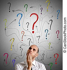 Questions - A businessman gets questions about his work