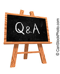 Questions And Answers - 3d isolated wooden blackboard with...