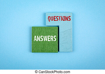 Questions and Answers. Customer service, education, medicine and science concept