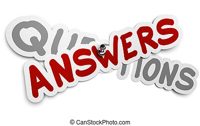 One answer sticker fixed by using a thumbtack over a grey word questions, white background, FAQ concept