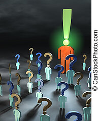 Questions and answers - People with questions meet around a ...