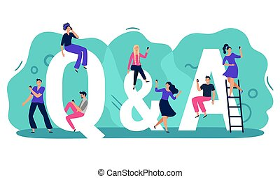 Questions and answers. Q A with people, persons with smartphones ask question and find answer vector illustration. Young men and women searching for problem solution. Mobile q and a service