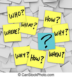 Many sticky notes with questions like who, what, when, where, how and why, and a question mark, all posted on an office noteboard to represent confusion in communincation