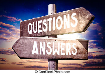 Questions, answers - wooden signpost, roadsign with two arrows