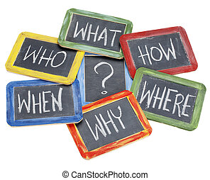 questions, brainstorming, decision making - what, when, ...
