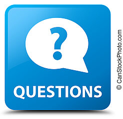 Questions (bubble icon) cyan blue square button