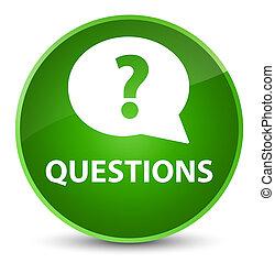 Questions (bubble icon) elegant green round button