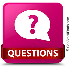 Questions (bubble icon) pink square button red ribbon in middle