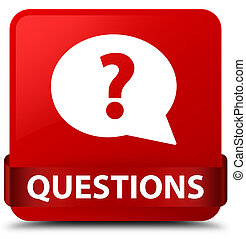 Questions (bubble icon) red square button red ribbon in middle