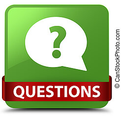 Questions (bubble icon) soft green square button red ribbon in middle
