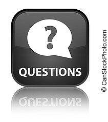 Questions (bubble icon) special black square button