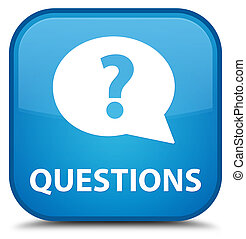 Questions (bubble icon) special cyan blue square button
