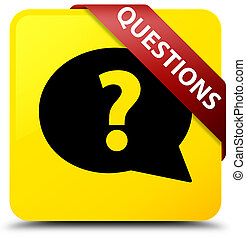 Questions (bubble icon) yellow square button red ribbon in corner