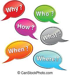 Questions bubbles - Illustration of questions bubbles on...