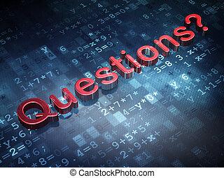 questions?, concept:, fondo, digitale, educazione, rosso