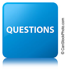 Questions cyan blue square button