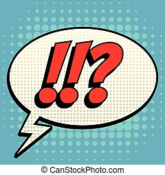 Questions exclamation marks comic book bubble text retro style