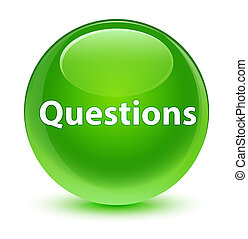 Questions glassy green round button