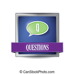 Questions glossy blue button illustration