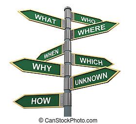 questions, mots, panneaux signalisations