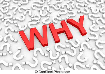 questions., palabra, por qué, rojo, alrededor