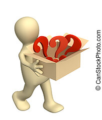 Puppet, carrying a box with question marks