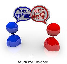questions, qui, quel, où, quand, deux personnes, conversation